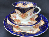 Edwardian Royal Albert navy & floral tea trio